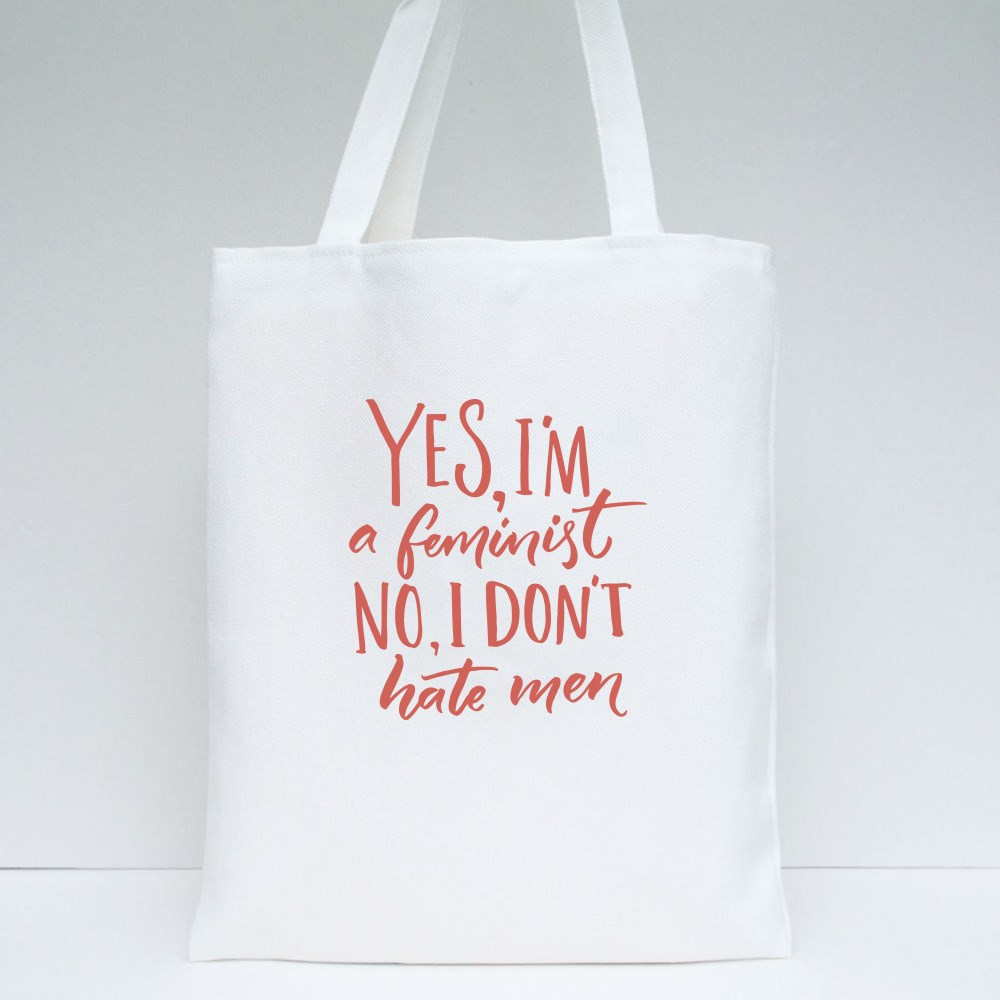 Yes I'm a Feminist Wording Tote Bags