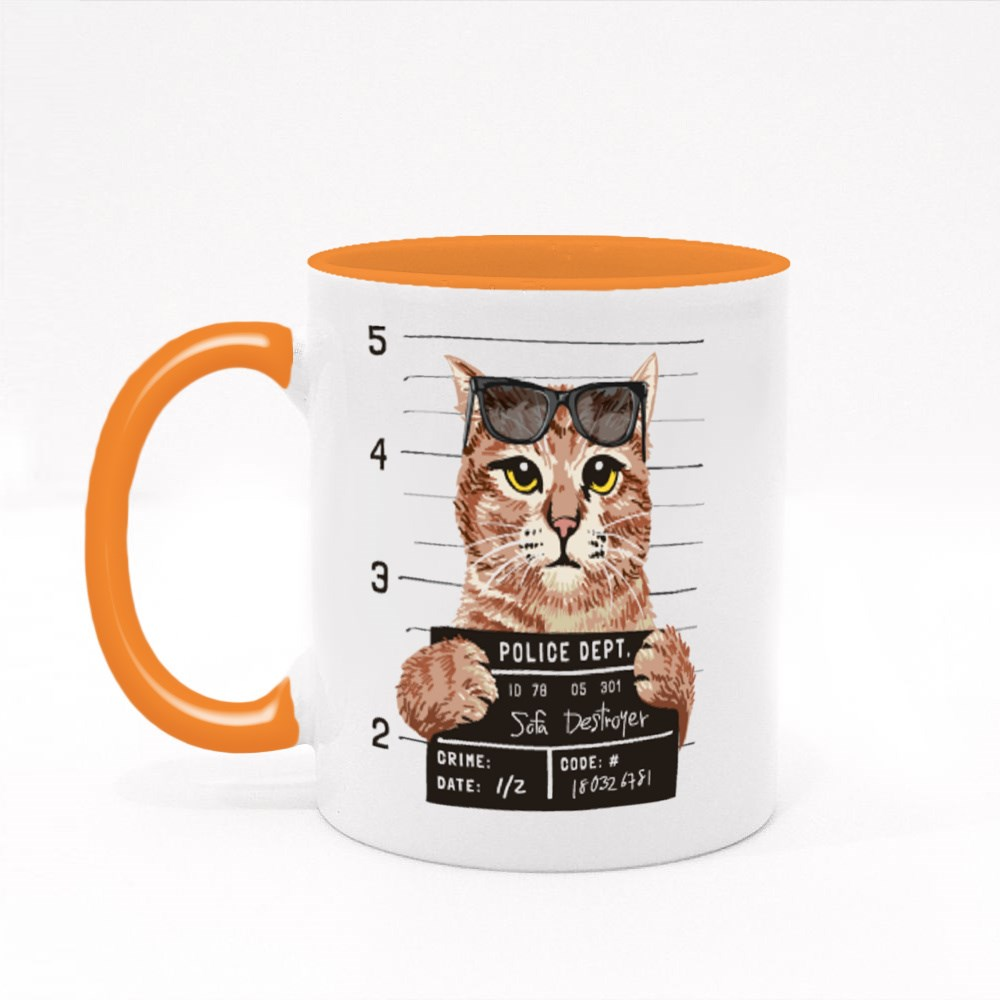 A Cool Cat With Sunglasses Colour Mugs