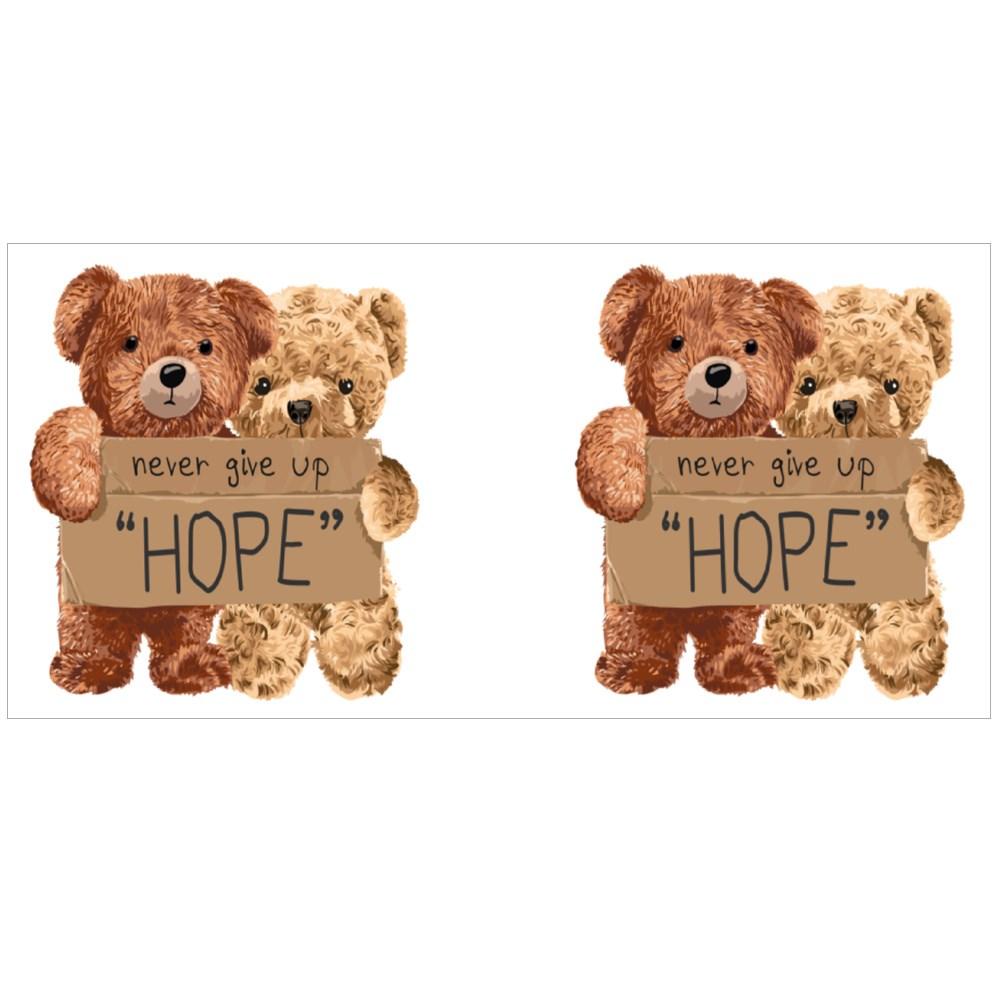 """Bear Toy Couple Holding """"Hope"""" Magic Mugs"""