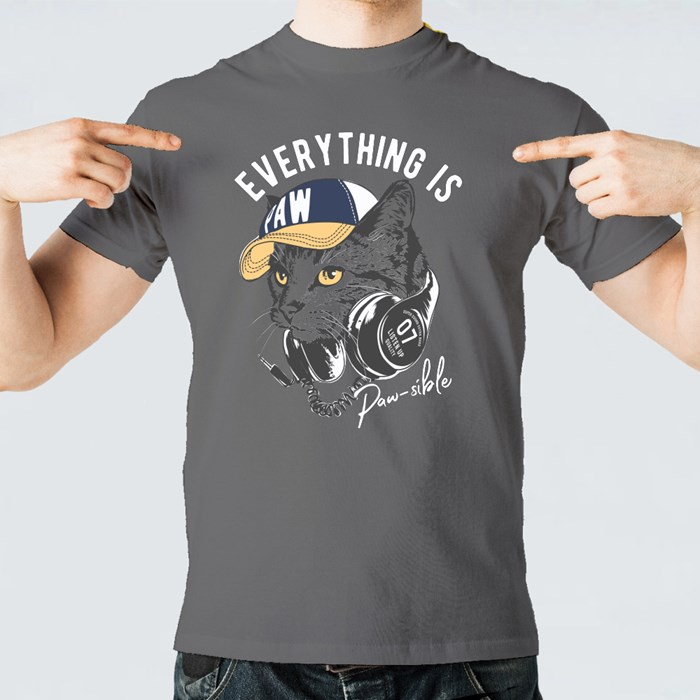 Slogan With Cat on Headphone T-Shirts