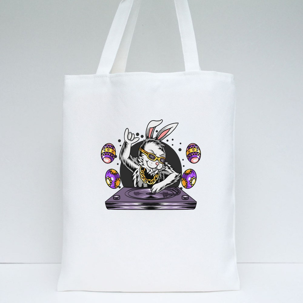 Easter Bunny Playing Dj Tote Bags