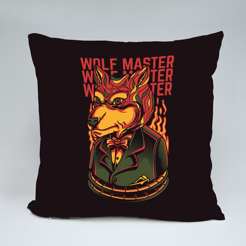 Wolf Master on Fire Throw Pillows