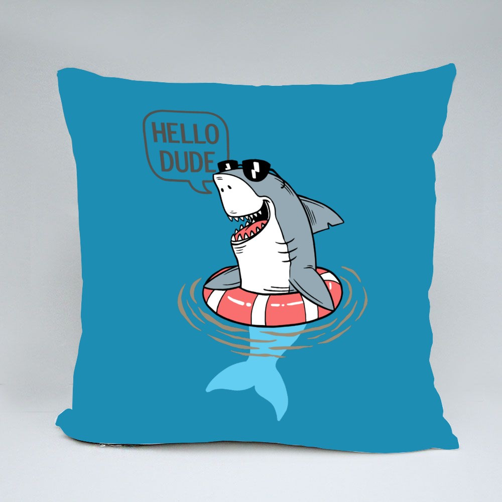 Cool Shark in Pool Throw Pillows