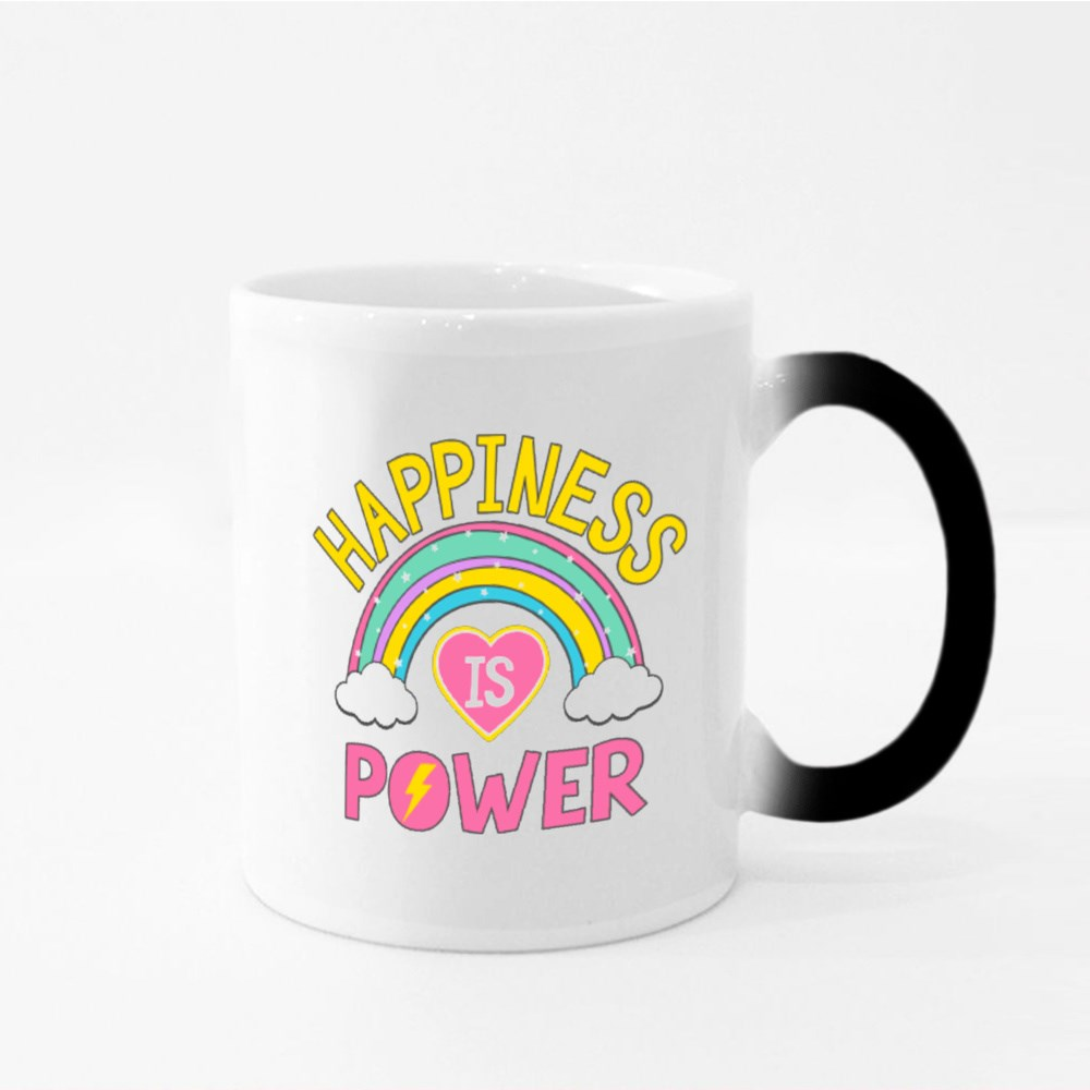 Happiness Is Power Colourful Magic Mugs
