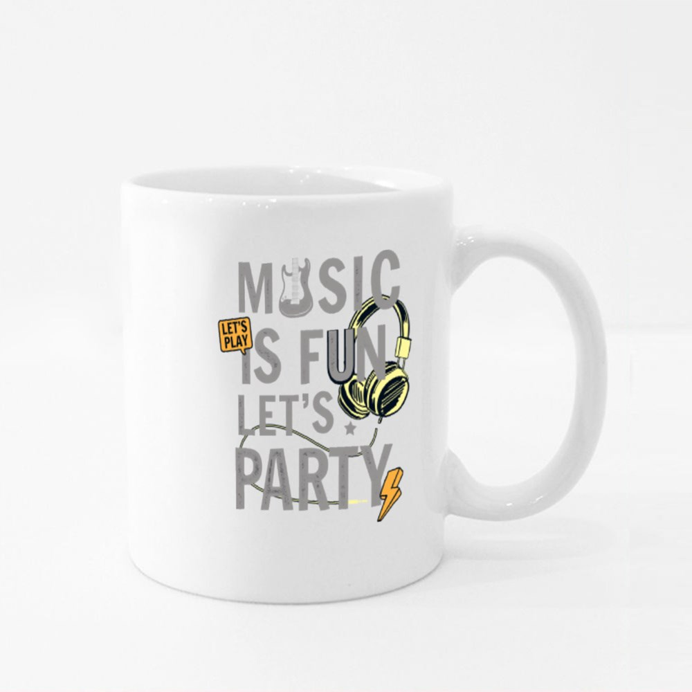 Music Is Fun Let's Party Colour Mugs