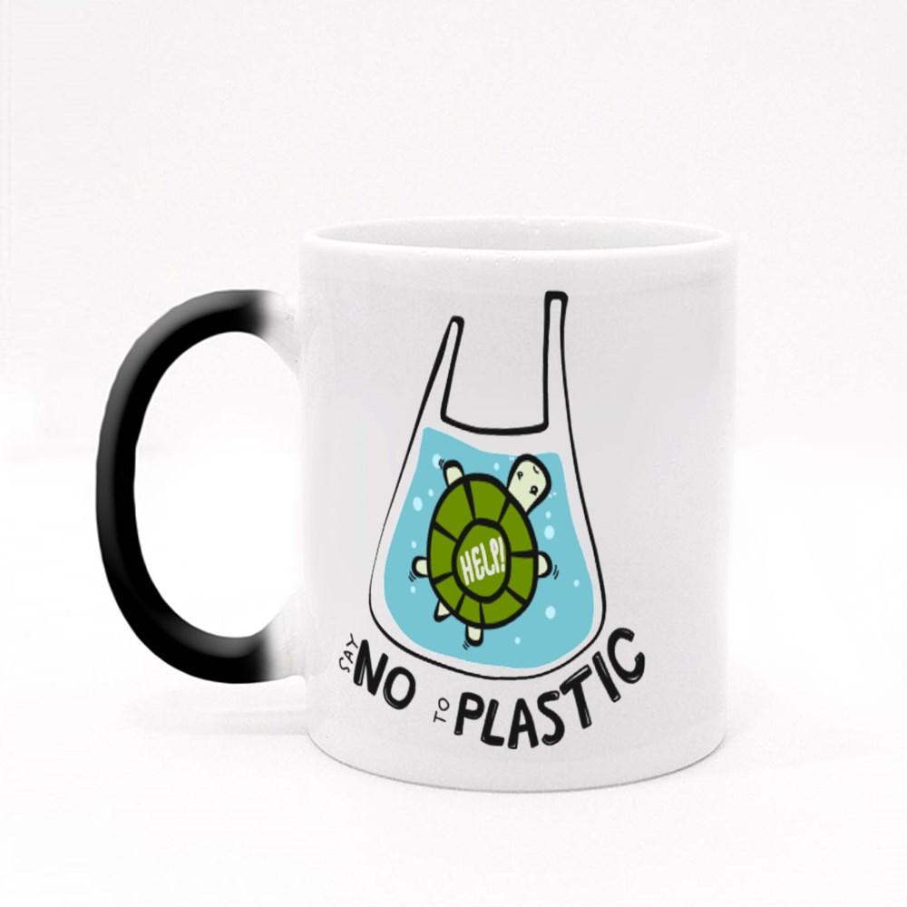 Cute Turtle Say No to Plastic Magic Mugs