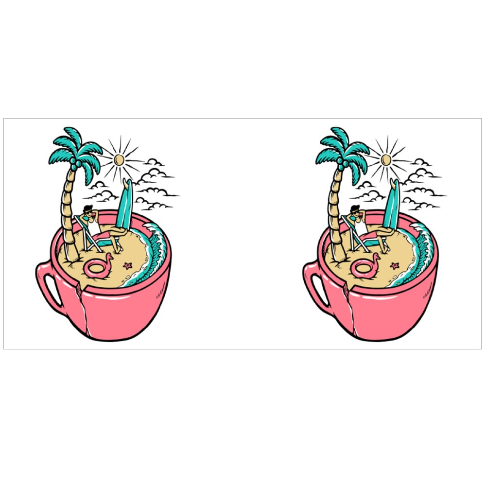 Relaxing on the Beach Colour Mugs