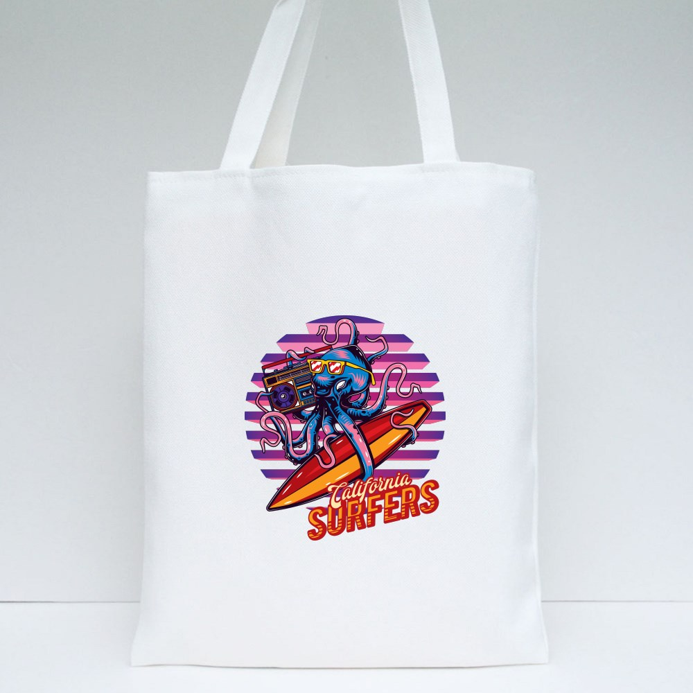 Surfing Octopus Tote Bags