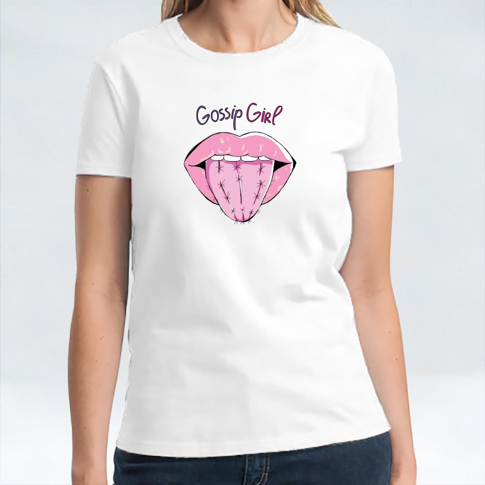 Red Open Lips Girlish Simple T-Shirts