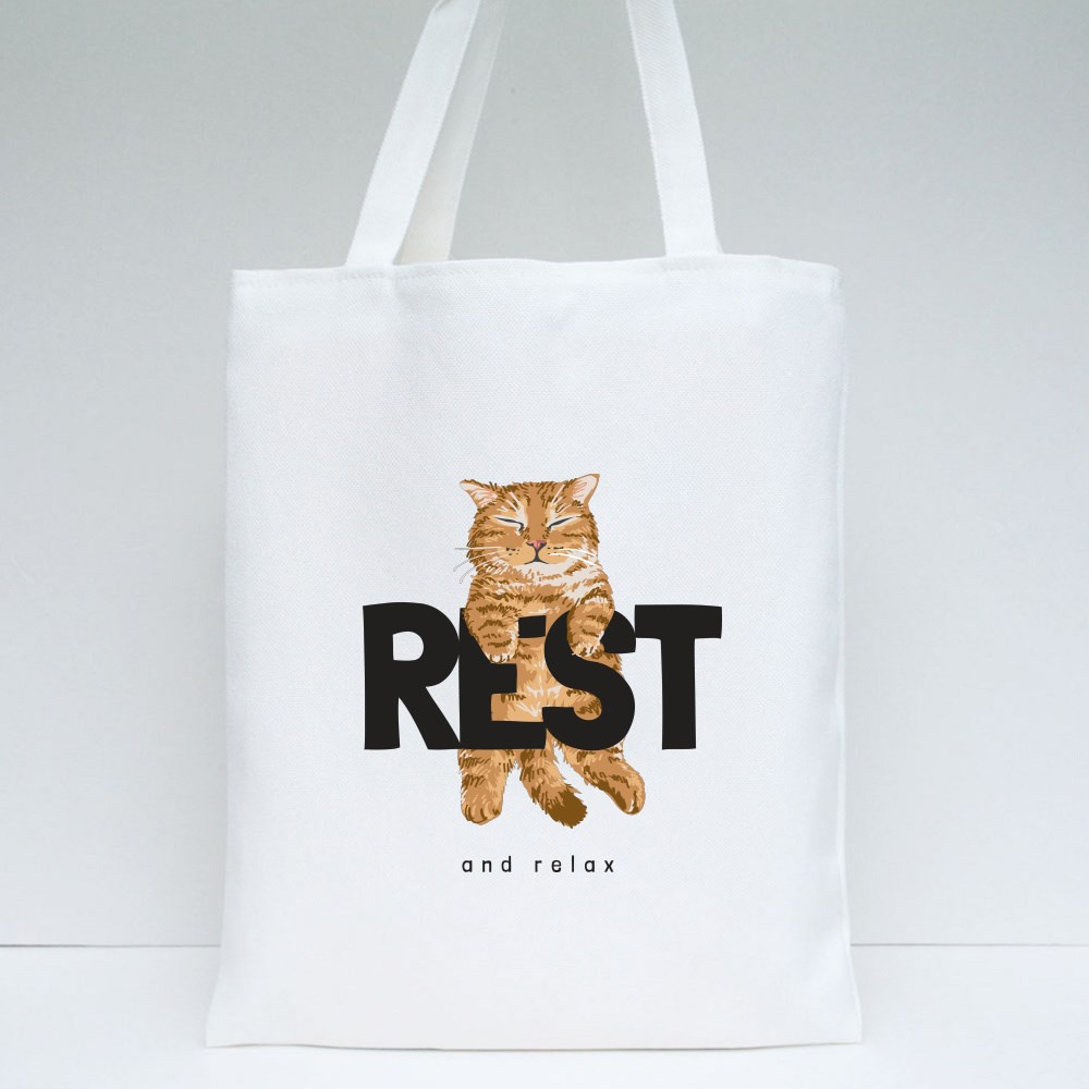 Rest and Relax Sleeping Cat Tote Bags