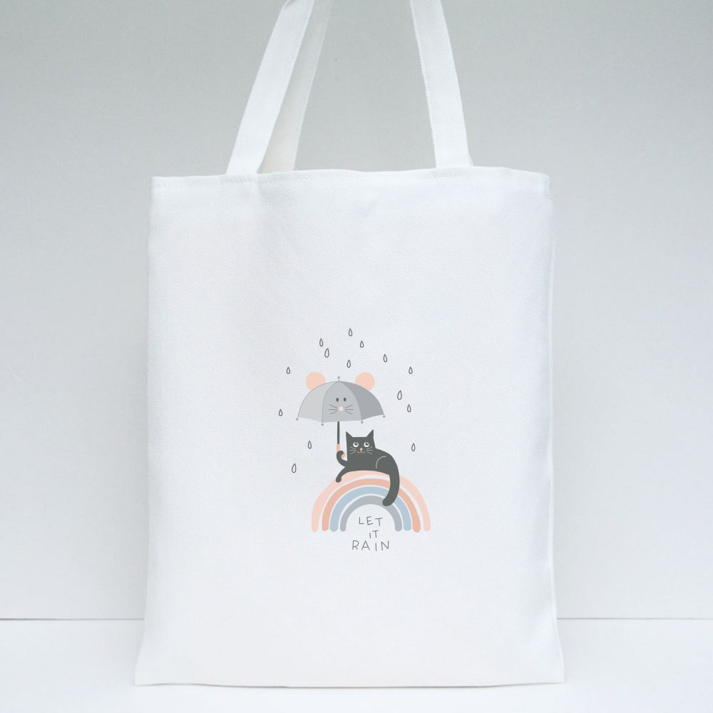 Black Cat and Mouse Umbrella Tote Bags