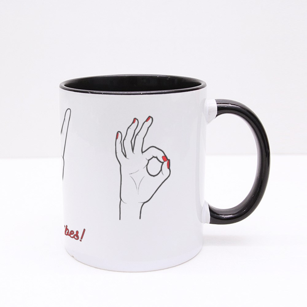 No Bad Vibes With Gestures Colour Mugs