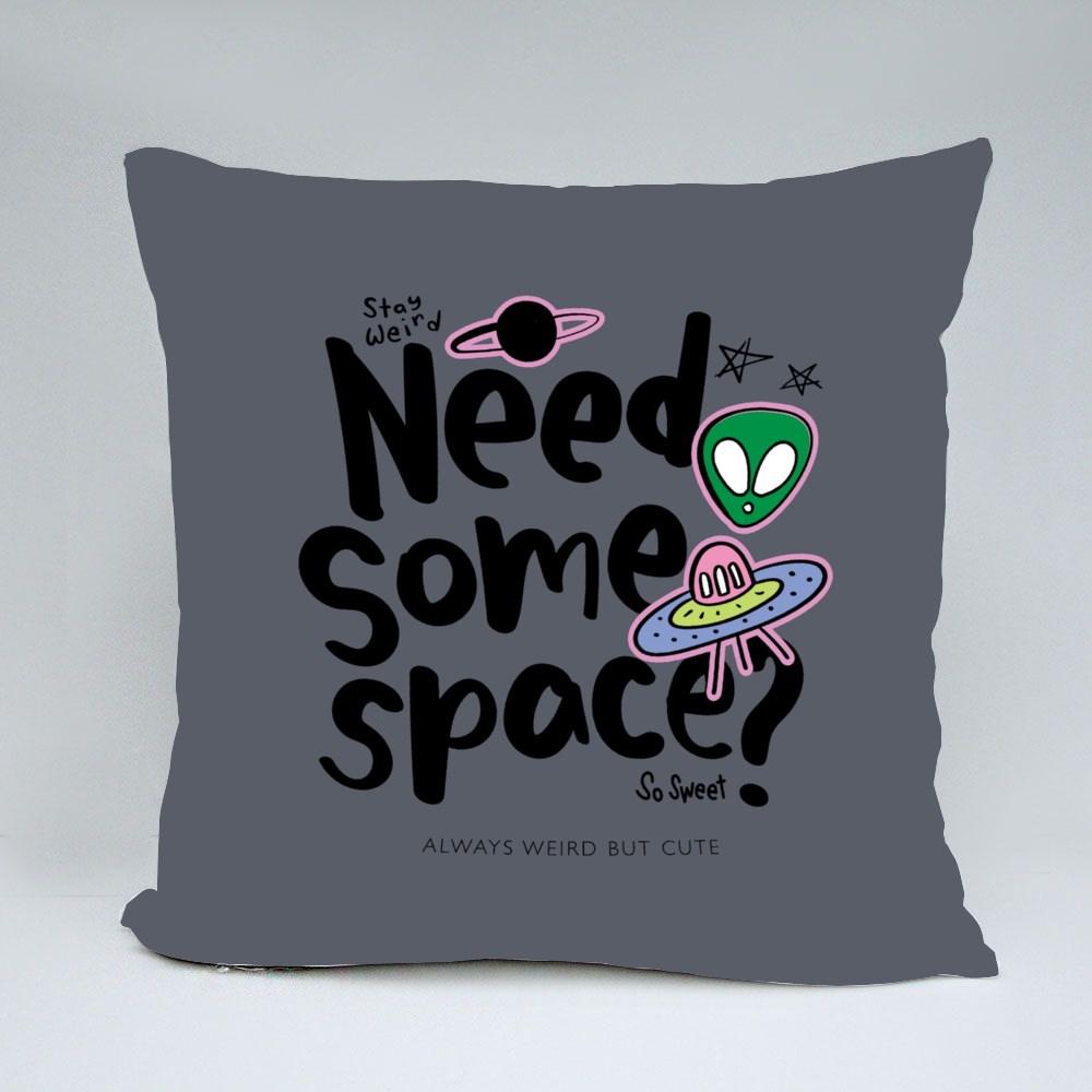 Alien and Spaceship Galaxy Throw Pillows