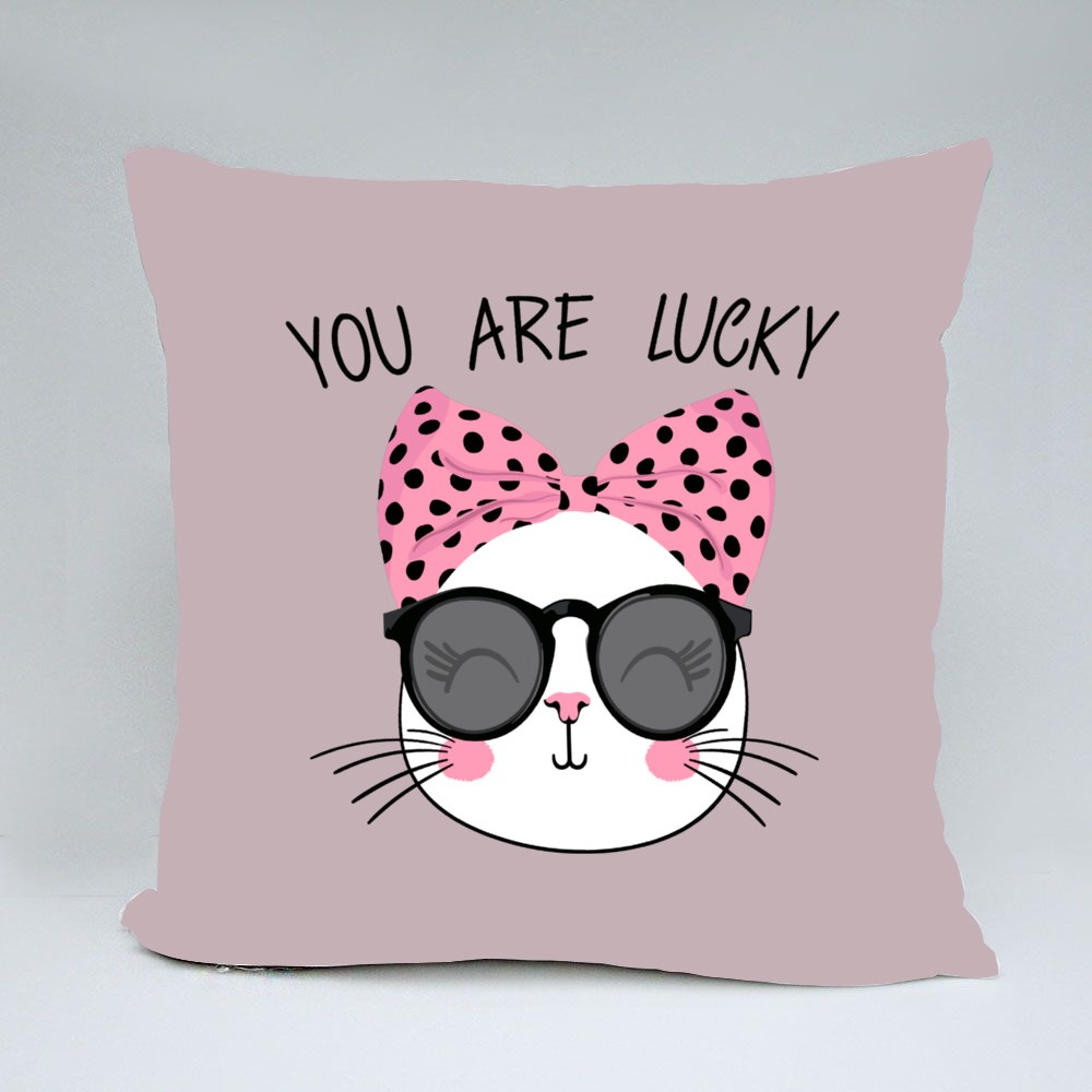 You Are Lucky Cute Cat Throw Pillows