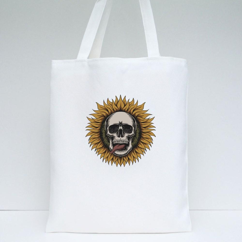 Sunflower Skull Tote Bags