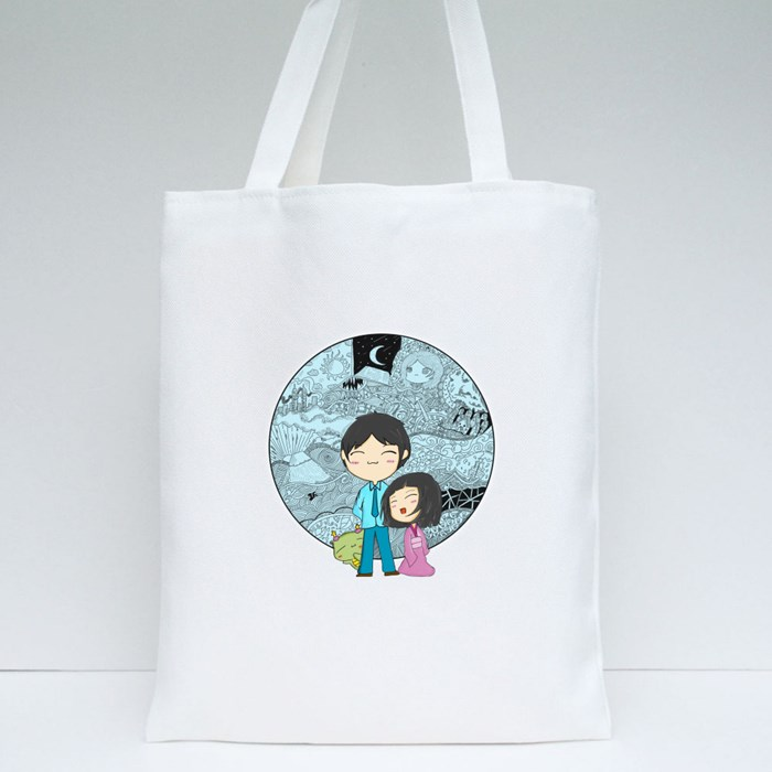Doodlicious-Blue Tote Bags