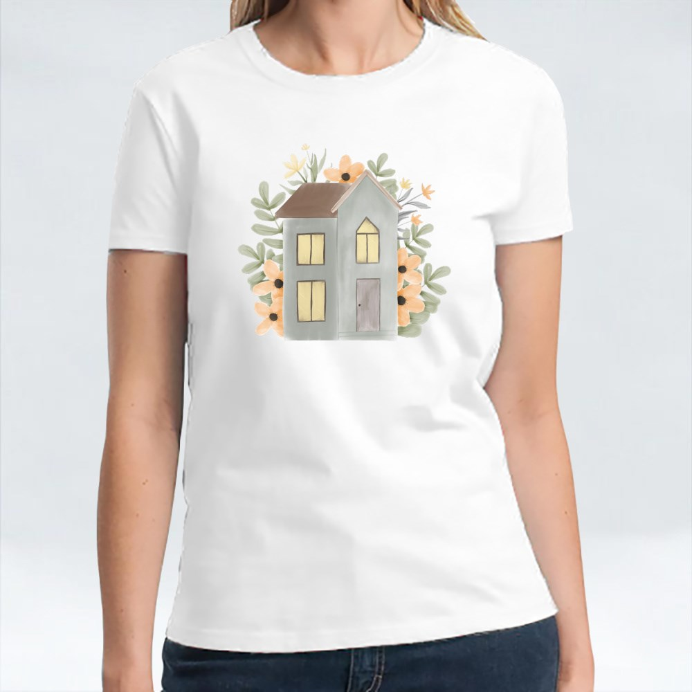 Watercolor Floral House Illustration T-Shirts