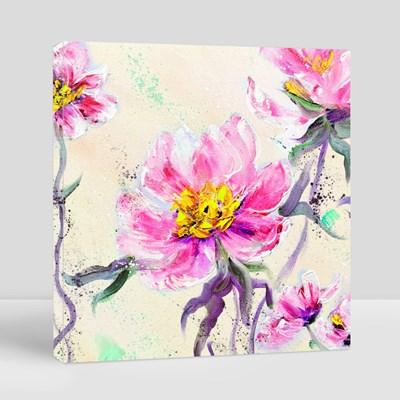 Style Pink Peonies Flowers 帆布畫(正方形)