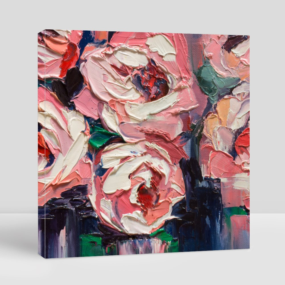 Peonies on a Smooth Original Canvas (Square)