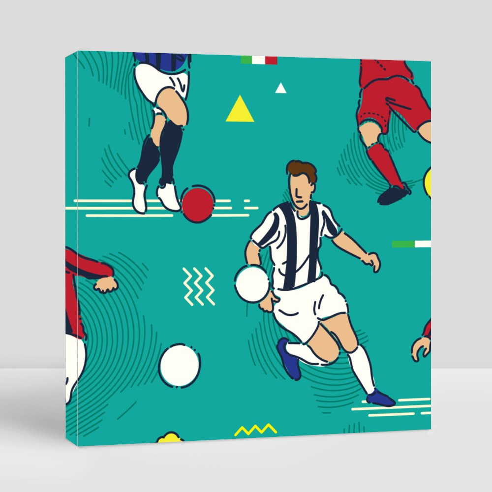 Football or Soccer Players Canvas (Square)