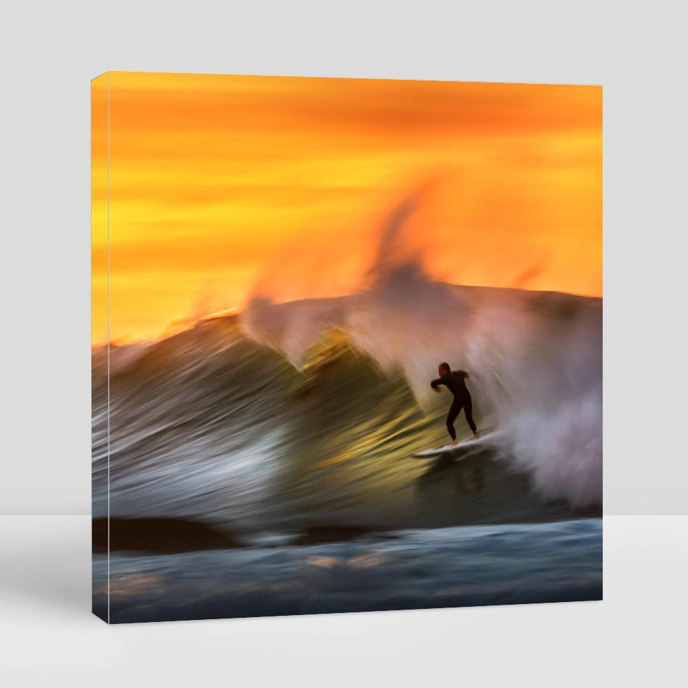 Surfer Riding on a Large Wave Canvas (Square)