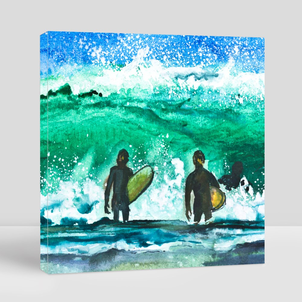 Wave and Surfers Canvas (Square)