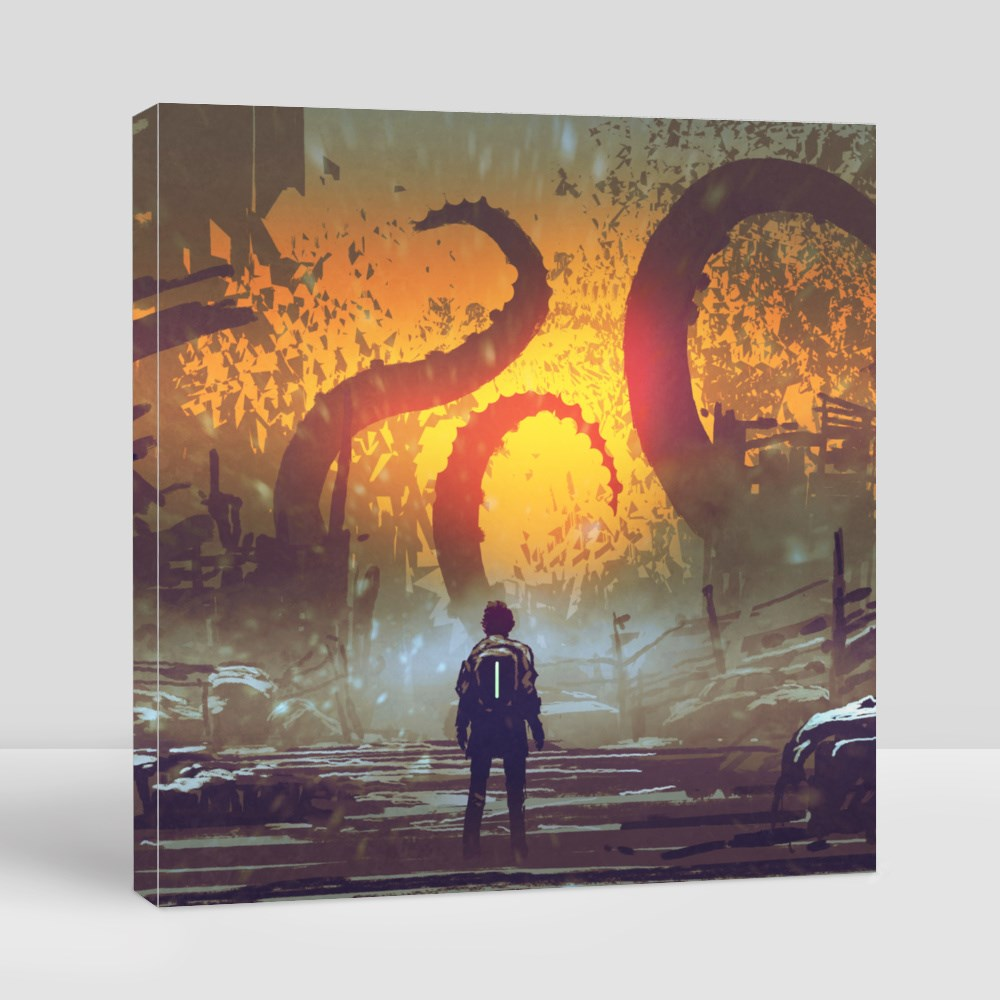Man Looking at a Tentacle Canvas (Square)