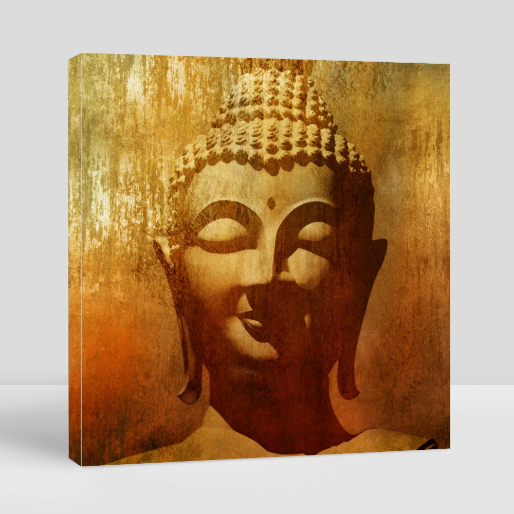 Buddha Head in Grunge Style Canvas (Square)