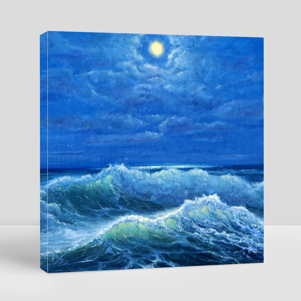 Waves in Ocean Under the Moon Canvas (Square)