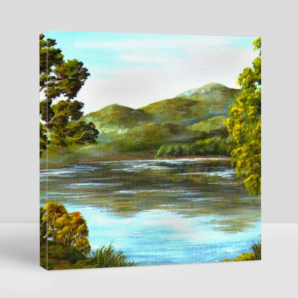 Greeny Mountain and Lake Canvas (Square)