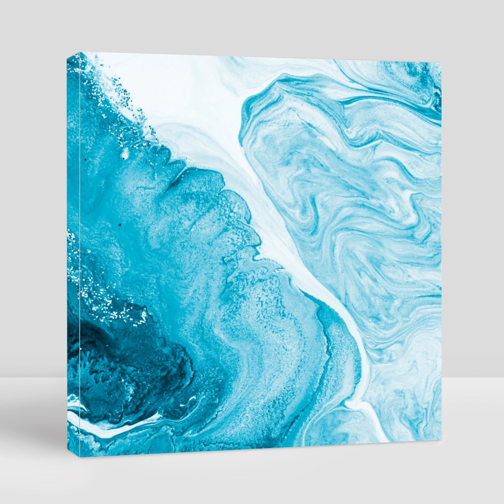 Blue and Marble Waves Canvas (Square)