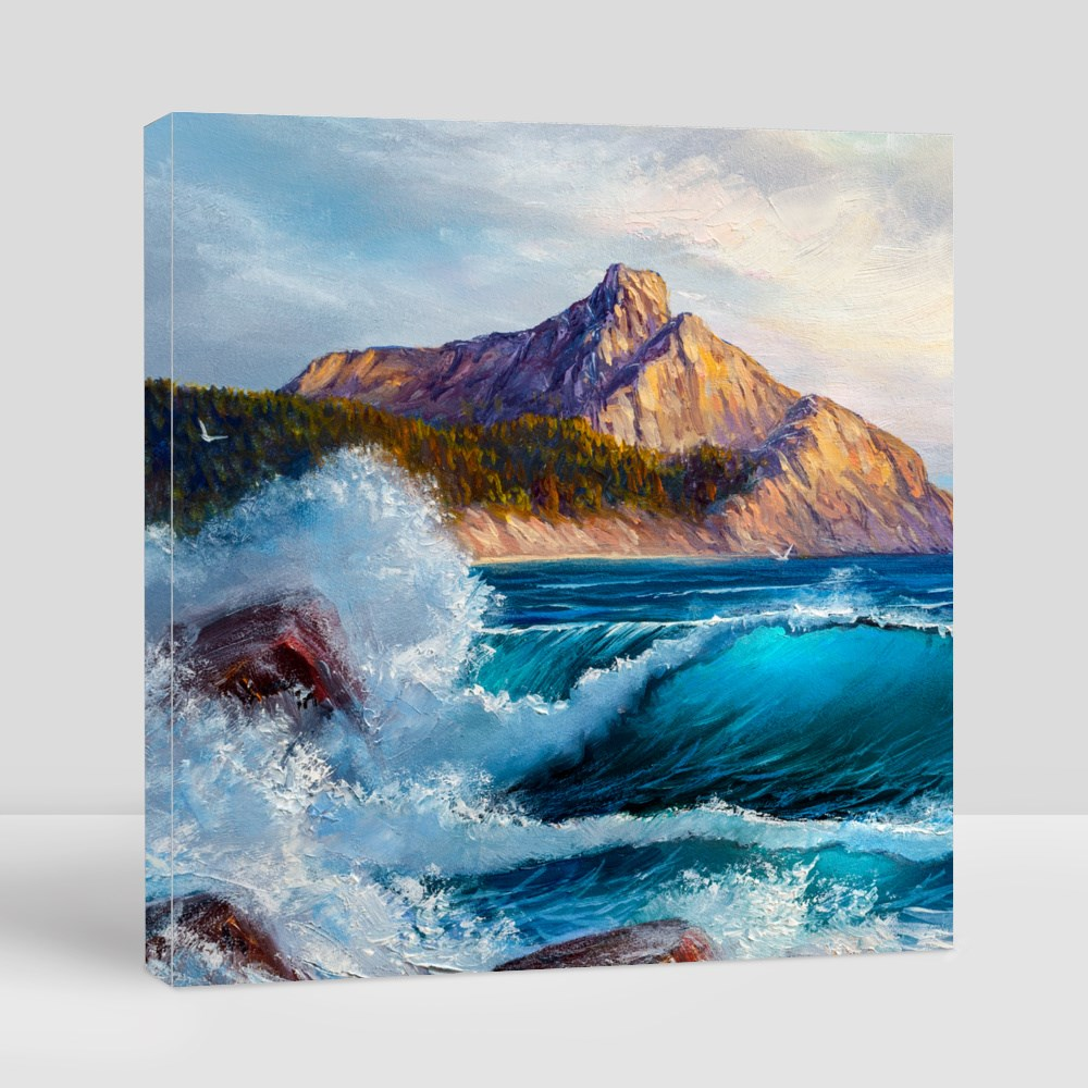 Blue Sea Waves Oil Painting Canvas (Square)