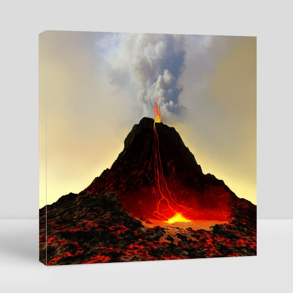 Volcano Spews Out Hot Red Lava Canvas (Square)