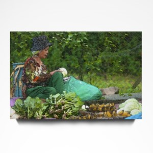 Woman Selling Fruits & Vegetables Watercolor Effect
