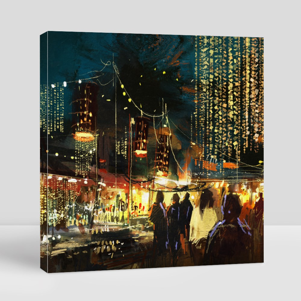 Shopping Street City Canvas (Square)