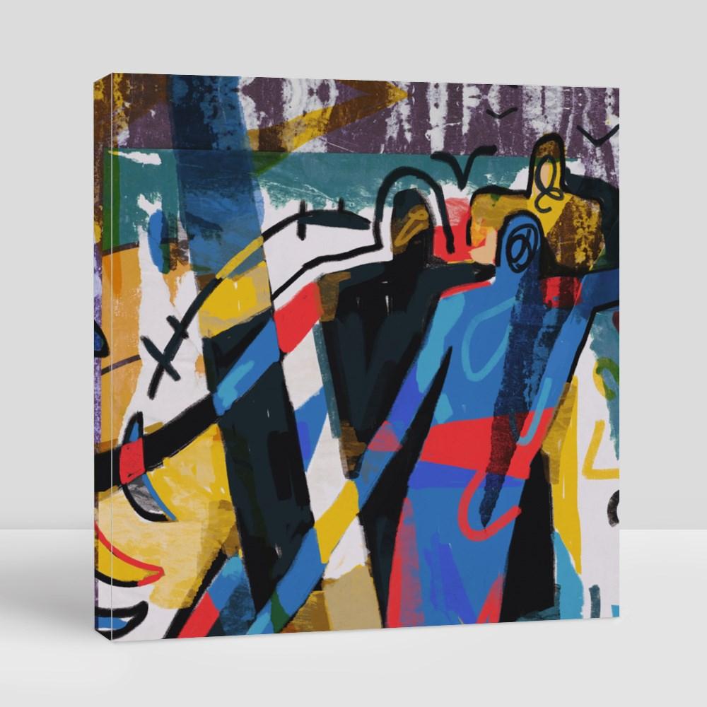 Primary Color in Mondrian Canvas (Square)