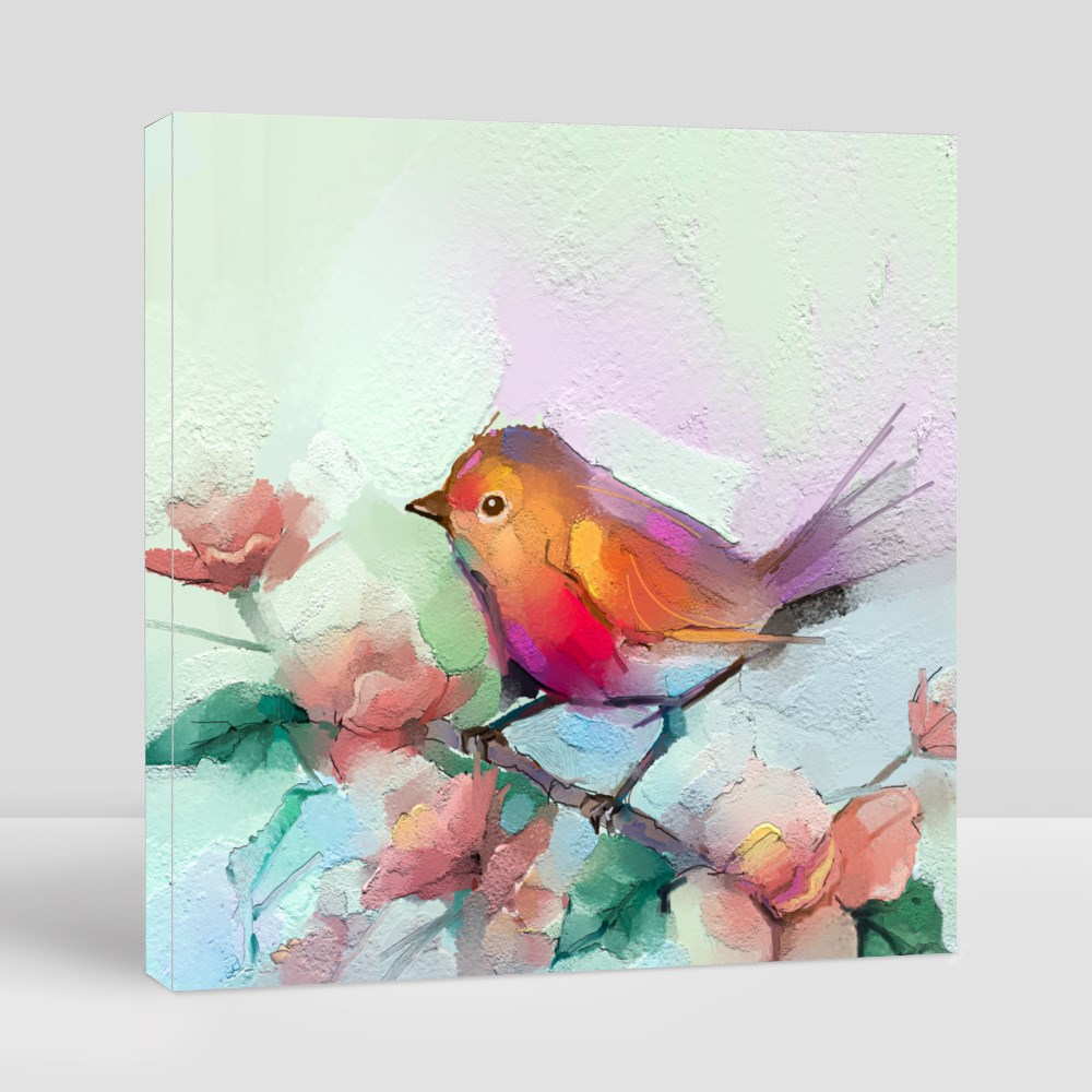 Soft Bird and Spring Flower Canvas (Square)