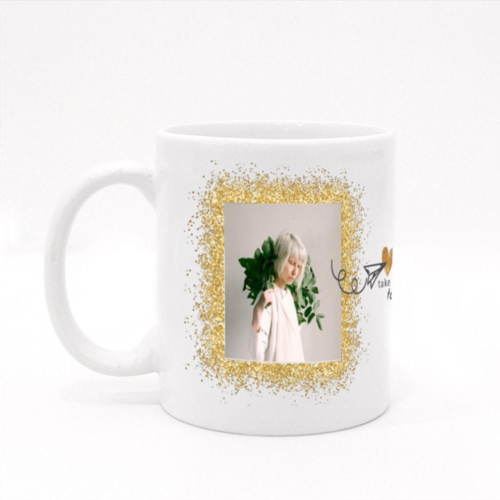 Golden Glitter Square Colour Mugs