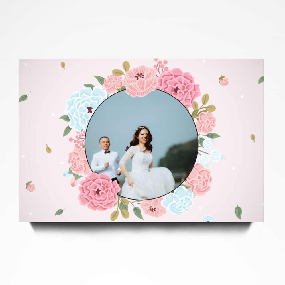 Pink Wreath for Newlyweds Canvas (Landscape)