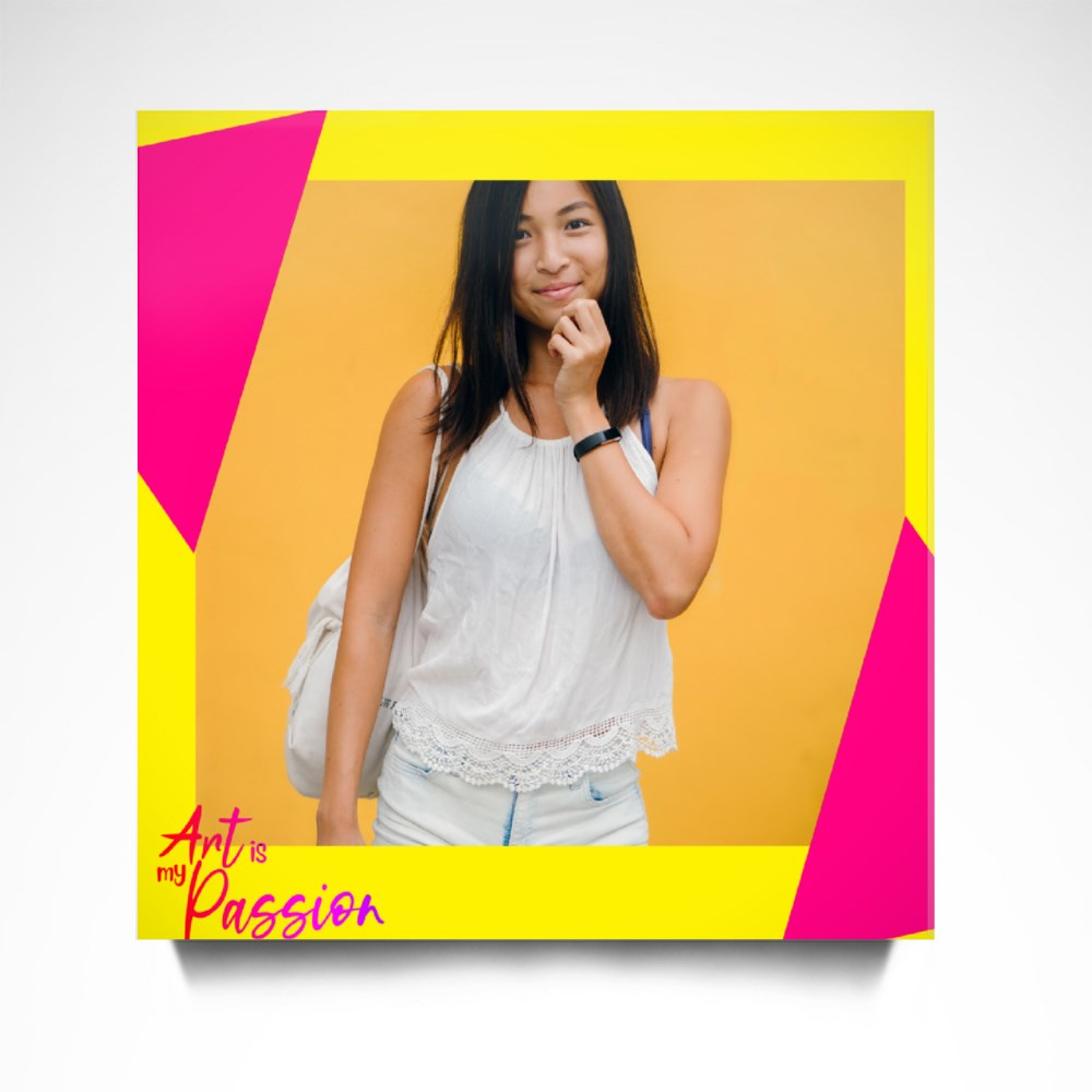 Yellow Pink Triangle Canvas (Square)