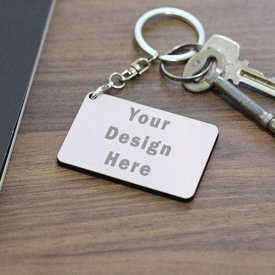 سلاسل المفاتيح الخشبية (مستطيل) الطباعة