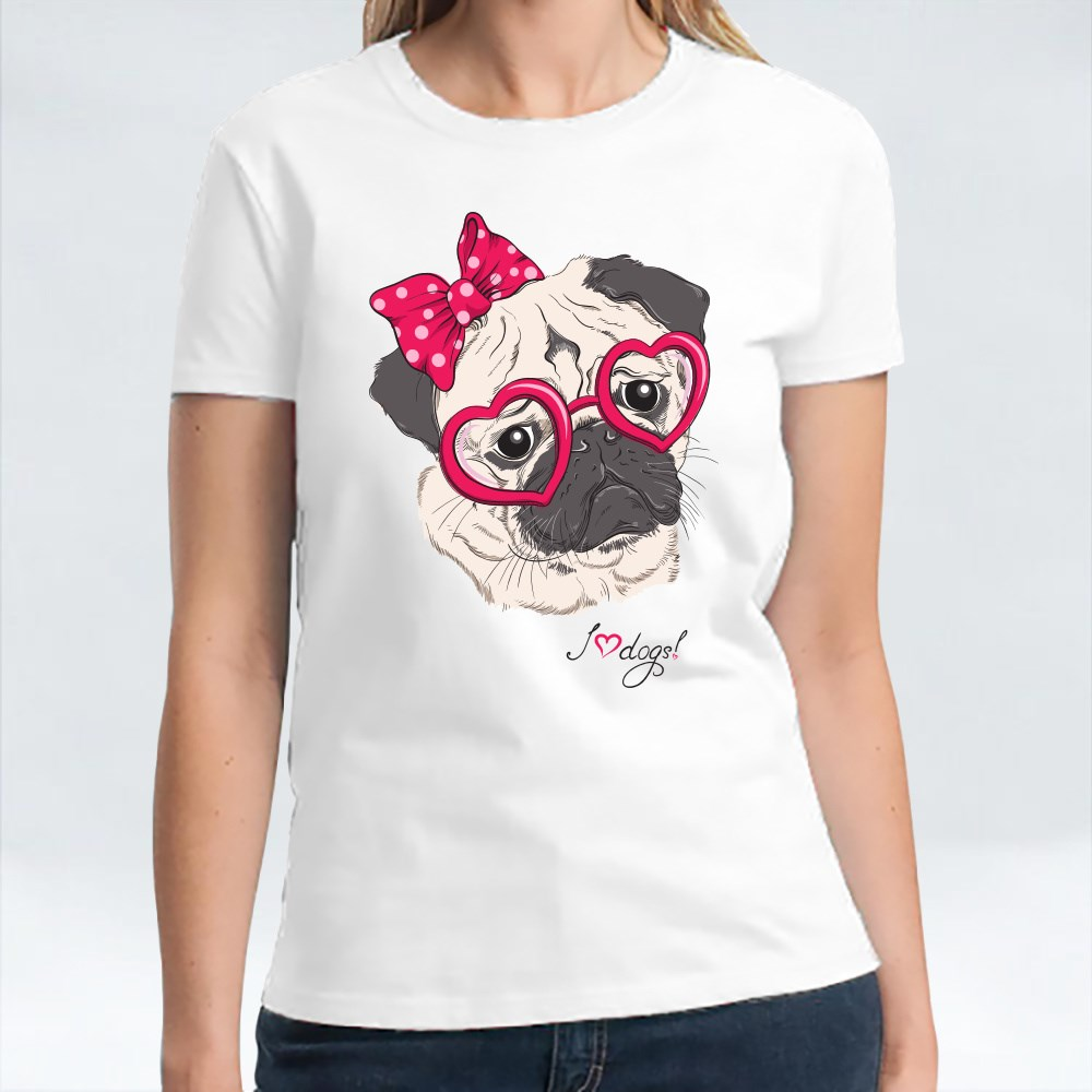 Pug Dog Hipster in Hearts T-Shirts
