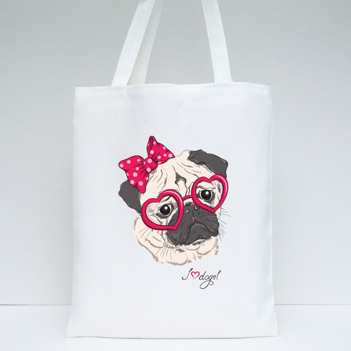 Pug Dog Hipster in Hearts Tote Bags
