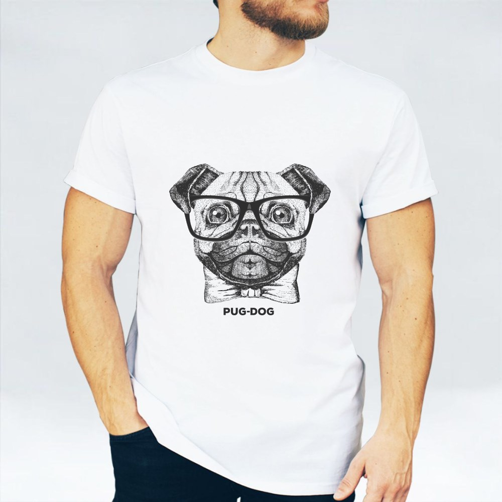 Retro Hipster Animal Pug Dog T-Shirts