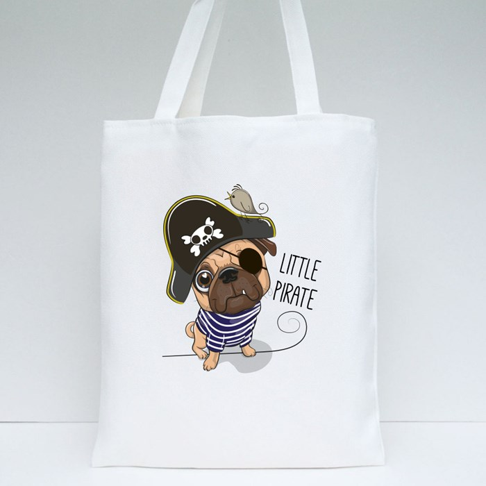 Pug Dog in a Pirate Hat Tote Bags