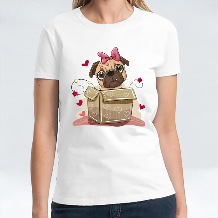 Pug Dog Girl in the Box T-Shirts