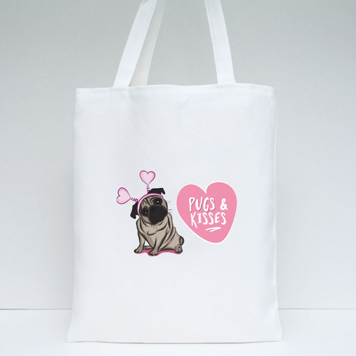 Pugs and Kisses Tote Bags