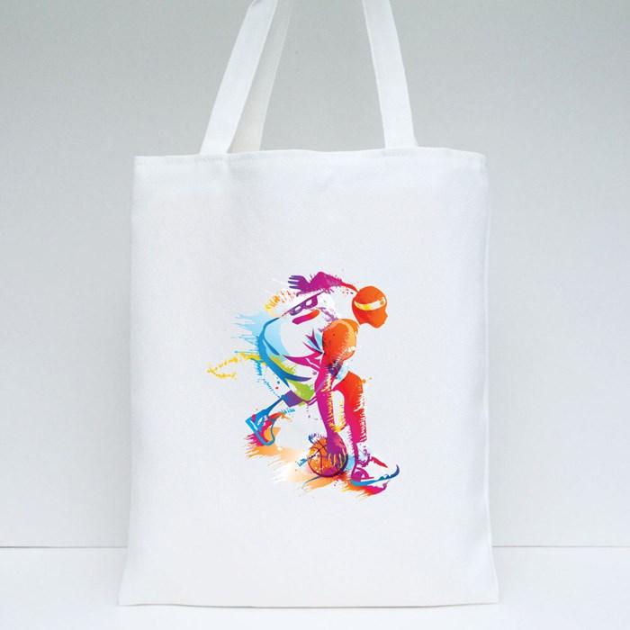 Basketball Player Dribling 1 Tote Bags