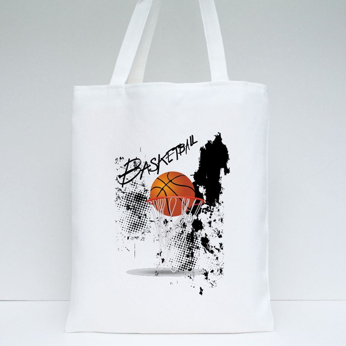 Basketball Hoop on Whte Background Tote Bags
