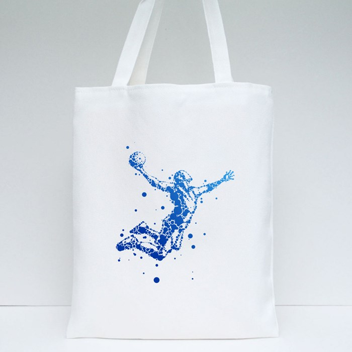 Basketball Player Jump Motion Tote Bags